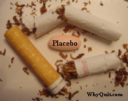 placebo pill surrounded by broken cigarette