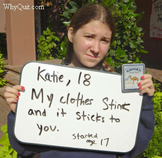 Katie an 18-year-old College of Charleston student assumes the role of peer health educator in sharing her smoking message that her clothes stink and the smell sticks to you
