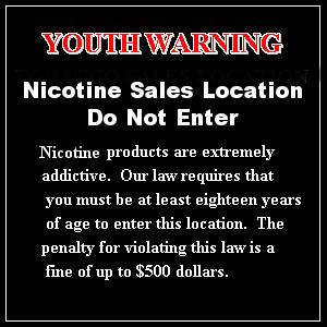 Nicotine sales location youth door warning sign