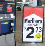 Marlboro being sold at a Sunoco gas pump