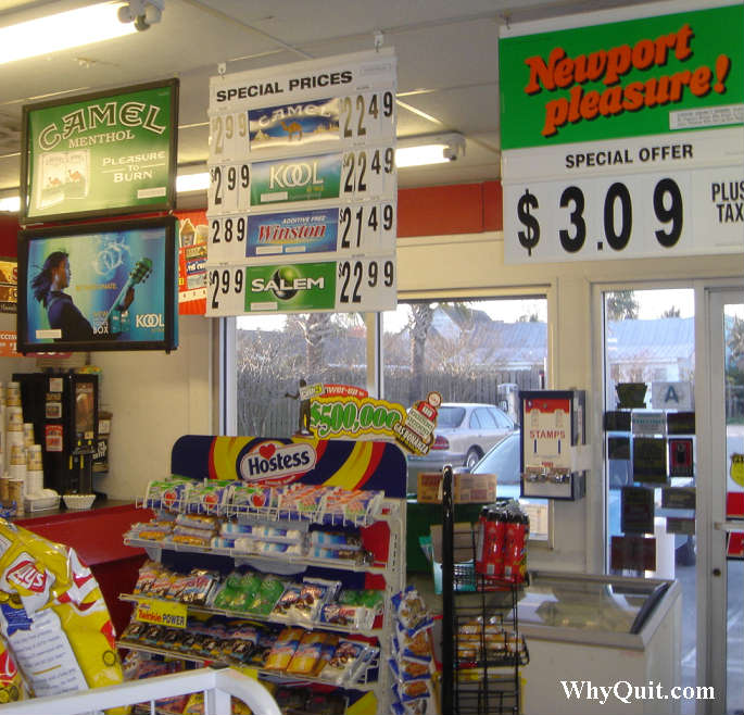 Photo inside the convenience store nearest the Sullivan's Island home of South Carolina Sanford governor. It shows the store selling cigarettes above Hostess cupcakes and donuts.