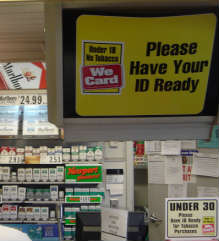Under 18 No Tobacco - We Card sign