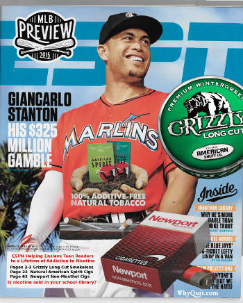 A spoof ESPN magazine cover adding issue tobacco ad images for the 2015 MLB Previews