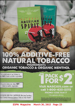 Natural American Spirt advertisement from page 23 of ESPN Magazine, March 30 edition, MLB Preview