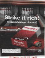 Newport March 2015 advertisement from ESPN magazine stating Strike it Rich! Premium tobacco pleasure! for Newport non-menthol box