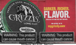 Grizzly Long Cut smokeless tobacco dip advertisement appearing on pages 2 and 3 of ESPN Magazine MLB Preview 2015 March 30, 2015