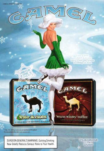 TIME magazine, November 29, 2004, page 49 R.J. Reynolds Camel Winter Mocha Mint and Camel Warm Winter Toffee