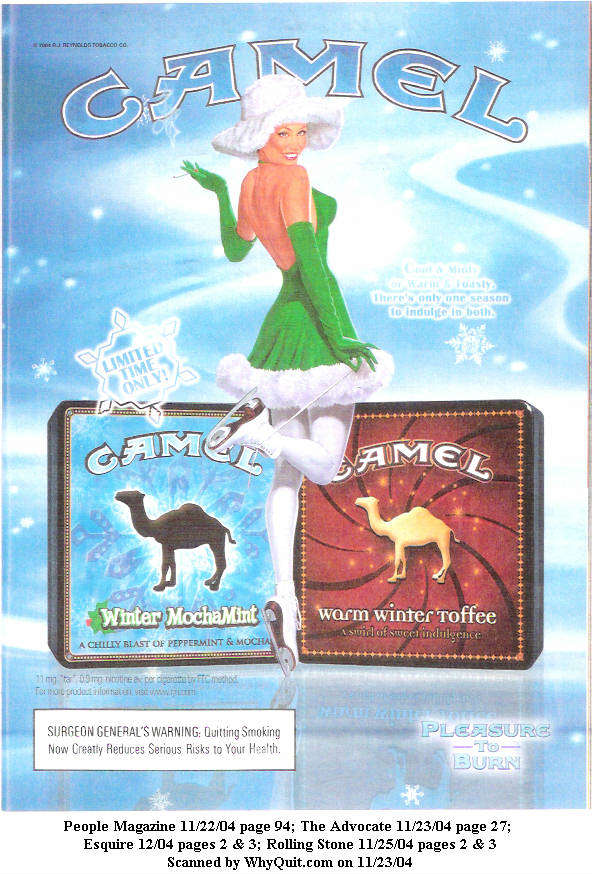 RJR: Camel: Winter Mocha Mint and Warm Winter Toffee