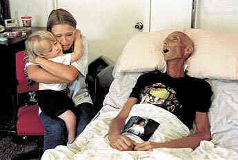 Bryan Lee Curtis, a marlboro smoker on his death bed after having failed to stop smoking soon enough.