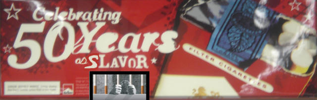 spoof on Marlboro banner which originally read, Celebrating 50 years of flavor