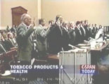Video of April 14, 1994 testimony of seven tobacco company executives before Congress testifying that they believe that nicotine is not addictive