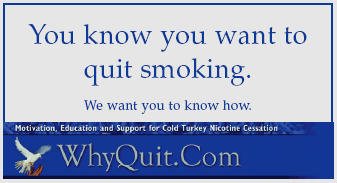 WhyQuit business card - You know you want to quit smoking.  We want you to know how.