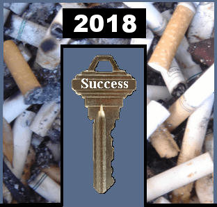 Your key to quitting smoking in 2018, to making your New Year's Resolution come true - tips, guide, free counseling, group support, message board, peers, other smokers, quitters, nicotine, cigarettes, stop, quit