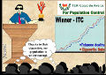 A cartoon by Dr. Pankaj Chaturvedi, Professor, Head and Neck Surgeon   Tata Memorial Hospital, Parel, Mumbai India.  It shows an ITC employee standing on a stage accepting the Teri Corporate Awards for Population Control.
