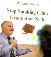 Joel at clinic graduation night following a 6 session, two weeks stop smoking clinic. Each session was two hours.