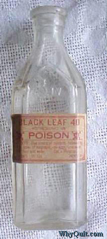 An empty bottle of Black Leaf 40, an insecticide one sold in America which was 40% nicotine sulfate
