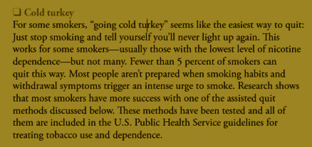 Cold turkey portion of Clearing the Air smoking cessation booklet
