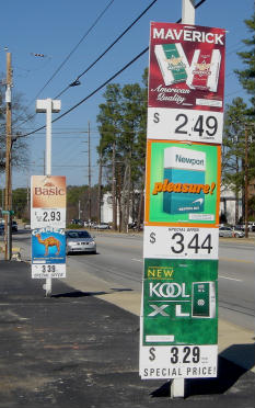 Convenience store street cigarette ads in Columbia, South Carolina in 2008