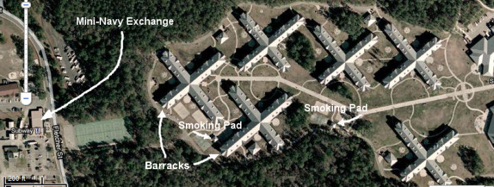 Google map image showing the location of the NWS Mini-Exchange, where tobacco products are aggressively marketed, in relation to the NNPTC student housing complex.