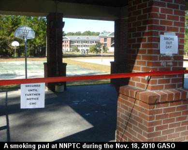 A secured smoking pad beside a basketball court at the Navy Nuclear Power Training Command during the Great American Smokeout on November 18, 2010