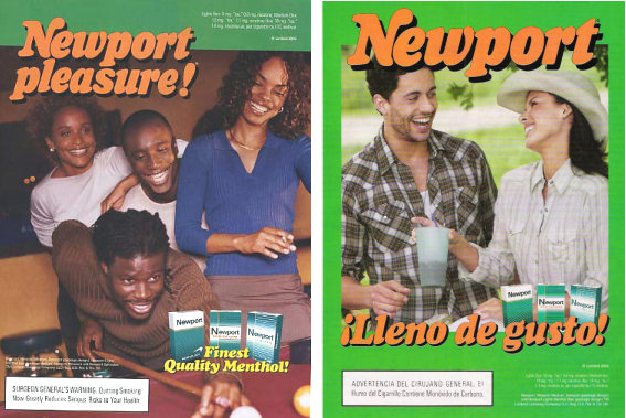 As shown in this Newport ad, the cigarette industry has a long history of marketing menthol cigarettes to minorities.