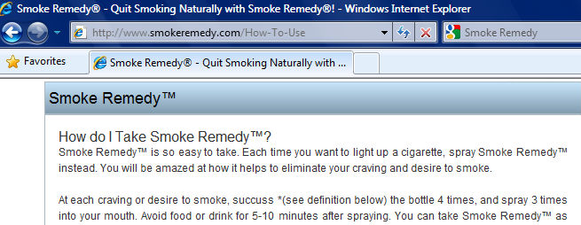 How to use instructions from the Smoke Remedy website for those who purchase and buy Smoke Remedy on January 9, 2011