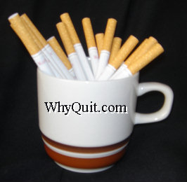 WhyQuit.com Coffee cup holding cigarettes