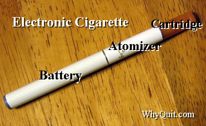 Picture of an electronic or e-cigarette showing three segments, a battery compartment, atomizer and a liquid reservoir cartridge that also serves as a mouth piece.