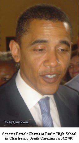 Presidental Candidate Barack Obama following a speech in the Burke High School gym on April 24, 2007.