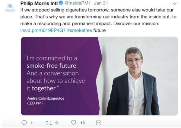 Phillip Morris International Twitter screen shot from February 12, 2019