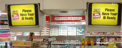 Philip Morris We Card signs in a Mount Pleasant SC convenience store
