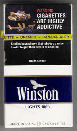 Canadian pack of Winston cigarettes showing addiction warning label