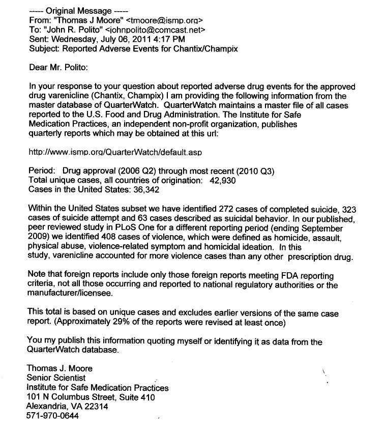 According to a July 6, 2011 ISMP email, ...