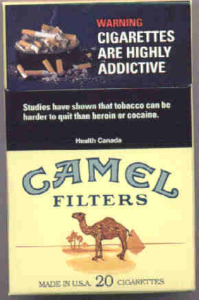 Canadian government's nicotine addiction cigarette pack warning label reads WARNING Cigarettes are Highly Addictive - studies have shown that smoking can be harder to quit than heroin or cocaine