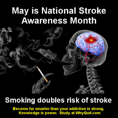 May is National Stroke Awareness Month. Image of skeleton having a stroke while smoking a cigarette with caption reading smoking doubles risk of stroke. #BrainforLife