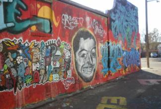 Denver 'Rest In Peace' graffiti mural for Quentin painted by a friend.