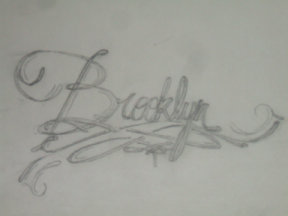 Photo of Quention's artistic script of his daughter Brooklyn's name